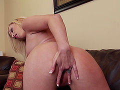 Sweet blonde wife Brea Bennett moans while masturbating on the sofa