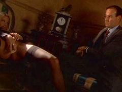 Jessica Drake gets a guy hard as she masturbates with a brush