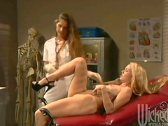Sexy blondes have a lesbian scene with sex toys