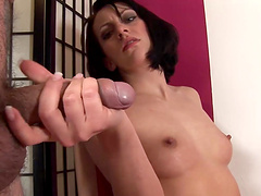 Gorgeous brunette babe sucks a dick and gets cum in mouth