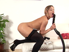 Cute blonde babe moans while pleasuring her orgasmic fuck hole