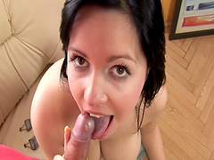 POV video of a busty amateur girl giving a nice blowjob to her man
