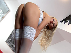 Cute blonde girl Lea T plays with her favorite dildo on the bed