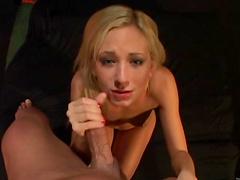 Beautiful skinny blonde sucks dick