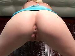Horny blonde masturbates with her favorite dildo