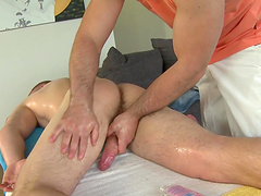 Hardcore ass drilling during an oiled massage with a gay dude