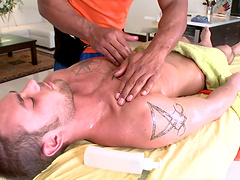 Handsome dude gets his ass fucked by a desirable massage expert