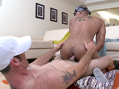 White man gets his dick pleasured by a naughty black gay guy