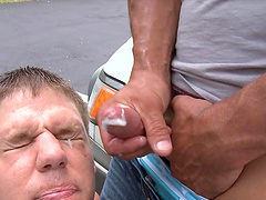 Wild outdoors gay fucking for money ends with a messy facial