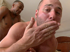Interracial gay fucking ends with a messy facial for a white man