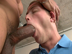 Cock thirsty twink sucks on a black monster cock before being fucked
