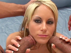 Courtney Simpson has a threesome with black monster cocks