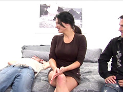 Threesome leaves Elle Cee covered by semen