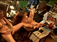 Rough sex with two smoking hot brunettes in a threesome