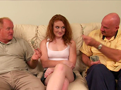 Redhead dame with natural tits getting smashed in threesome sex