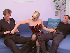 Gina Blonde is fucked silly by two guys in a threesome