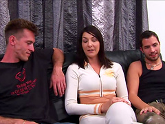 Lexi Bardot is covered by semen after a threesome