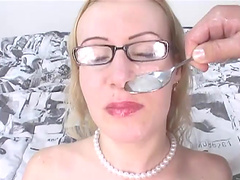 Fucked blonde has a spoonful of cum