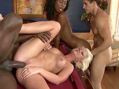 Gorgeous ebony with natural tits getting pined hardcore doggystyle