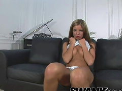 Foxy babe Laura R. rides a large dick and gets cum in mouth