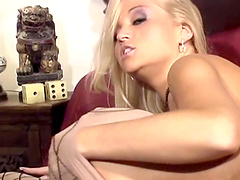 Closeup video of Jessica Drake having lesbian sex with a dildo