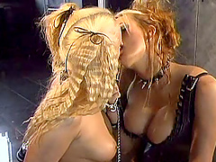 Lesbian sex among sexy blonde after torturing one another