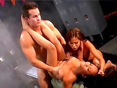 Seductive sluts drop their clothes to turn on a stud for a 3-way