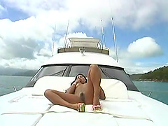 Double penetration threesome on the yacht with a gorgeous hooker