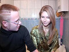 Blonde teen is fucked as her boyfriend watches
