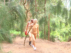 Outdoors video of Lena Hawaii having fun with her best friend