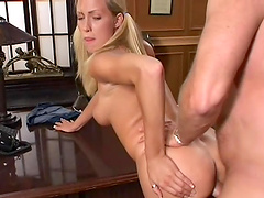 Hot blonde chick with pigtails gets fucked by a lucky stud