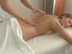 Angel E is fucked by her masseuse after getting an oil massage