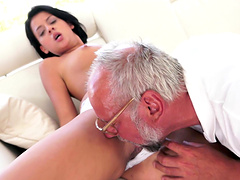 Coco De Mal sucks on an old man's hard cock before riding him