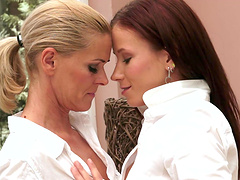 Gorgeous ladies make you cum in no time with a lesbian scene