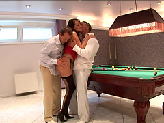 Hot threesome sex with the horny Mandy Bright