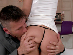 Shaved pussy cutie Anita Bellini gets fucked in the tight ass