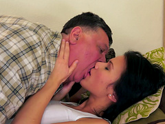 Denise Sky is fucked by a very lucky old man with a big cock