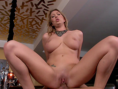 Arousing whore gets her tits soaked in cum after hardcore sex!