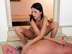 Horny Meg Magic fists herself before jerking an old man