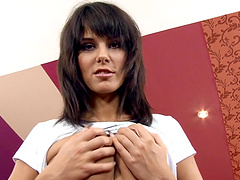 Vivacious Brunette Cowgirl Giving A Steamy Blowjob