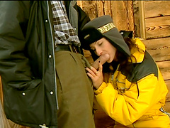Incredible fucking in the snow with anal loving brunette Gina Rouge