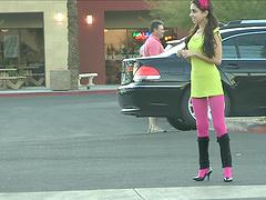 Dude films a hot ass teen walking around in high heels. HD