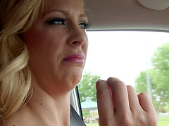 Hardcore fucking in the car between 2 dudes and Cherie Deville