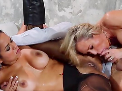 Provocative Abbey Lee Brazil and Brandi Love fucked by one dude