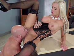 Hot tits blonde Nina Elle drops her thong to be fucked in the office