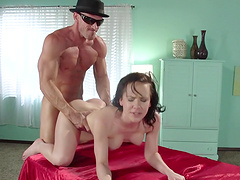 Naughty brunette Katie St. Ives loves milking her clients
