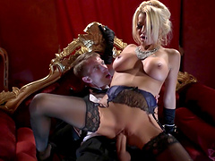 Desirable wife Tia Layne teases in stockings and rides his dick