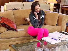 Wild FFM threesome in the living room with Belle Knox and Kendra Lust