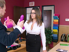 Cum in mouth ending for mature brunette Danica Dillan with glasses