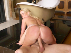 Blonde cutie Georige Lyall fucked and receives a messy facial